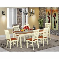 Dowe7-bmk-w 7 Pc Kitchen Table Set With A Dining Table And 6 Dining Chairs In...