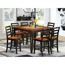 Fair7-blk-w 7 Pc Pub Table Set- Square Counter Height Table And 6 Dining Chairs