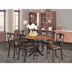 Kenl7-blk-lc 7 Pc With Pedestal Oval Dining Table And 6 Dining Chairs.