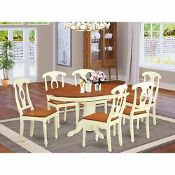 Kenl7-whi-w 7 Pc Dining Room Set For 6-oval Dining Table And 6 Dining Chairs