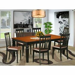 Lgan7-bch-lc 7 Pc Table Set With A Dining Table And 6 Dining Chairs In Black ...