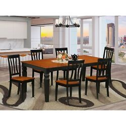 Lgan7-bch-w 7 Pc Dining Room Set With A Table And 6 Kitchen Chairs In Black A...