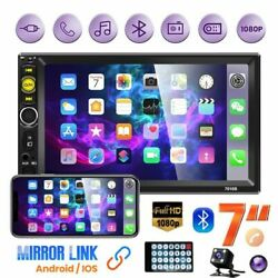 Double 2 Din 7 Car Stereo Radio Bluetooth Touch Screen Usb Aux Mp5 + Camera Usa