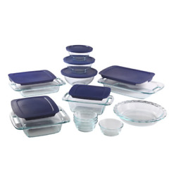 Pyrex Easy Grab Glass Bakeware With Lids Multi Size 19-piece Set