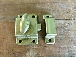 Vtg Antique Brass Cabinet Door Farm Country Turn Knobs Latches Cupboard Hardware