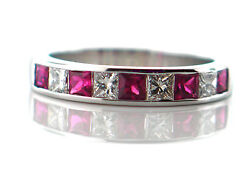 1.11 Ct Natural Ruby And Diamond Ladyand039s Wedding Band 14k White Gold