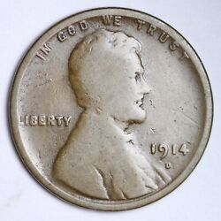 1914-d Lincoln Wheat Small Cent Choice Vg Free Shipping E123 Jcna