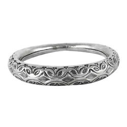 Indian Handmade Jewelry 925 Solid Sterling Silver Hollow Bangle D33