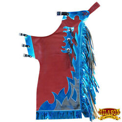 Western Youth Child Rodeo Bronc Bull Riding Show Genuine Leather Chaps U-502n