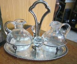 Vintage Spice Cruet Stand For Vinegar Oil In Silver And Crystal Glass