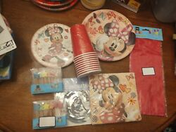Minnie Mouse Party Lot, 16 Plates, 16 Napkins , 12 Star Candles,silver Swirl...