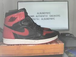 1994 Nike Air Jordan Retro 1 Bred Banned Black Red Size 9 Ds