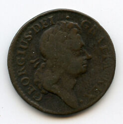Ireland 1723 King George I Half Penny Rare Coin Brown Vf.