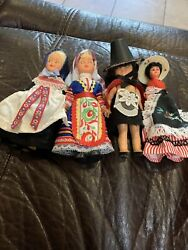Vintage Sleepy Eye Dolls Lot Of 4. Various Cultures And Ethnicities.