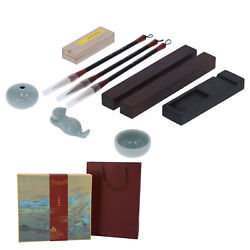 Chinese Calligraphy Set Boxed 4 Treasures Of Study Brush Pen Ink Paper Inkstone