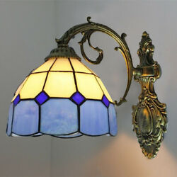 Style Wall Lamp Stained Glass Fixture Bedside Victorian Wall Sconce