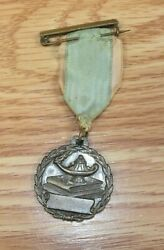Vintage Oil Lamp Of Knowledge Collectible Medal On Ribbon Lapel Pin
