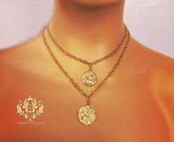 Double Layered Coin Pendants Luxury 24k Gold Over Cast Brass Necklace