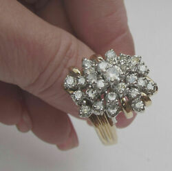 2ct Round Cut Diamond Cluster Huge Cocktail Ring In 14k Yellow Gold Finish