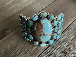Betta Lee Multi Stone Turquoise And Sterling Silver Cuff Bracelet Signed