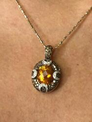 18k Yellow Gold Diamonds And Golden Citrine Oval Cut Champagne Diamond Necklace