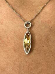14k White Gold Diamonds And Golden Citrine Marquise Cut Long Halo Design Necklace