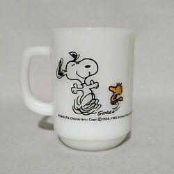 Vintage Fire King Snoopy At Times Life Is Pure Joy Coffee Cup Mug Milk Glass