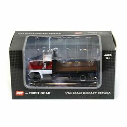 1/64 White Red Chevy C65 Single Axle Truck Black Flatbed Dcp First Gear 60-0888