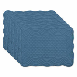 Dii French Blue Quilted Farmhouse Placemat Set Of 6