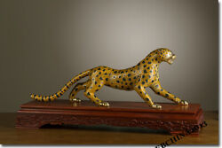 29.5 Collect China Art Wood Bronze 24k Gilt Carved Leopard Cheetah Statue