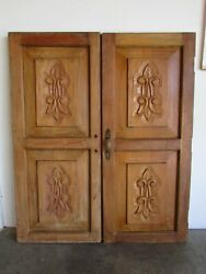 Antique Pair Mexican Old Doors 54-carved-primitive-window-38x45.5x2-short