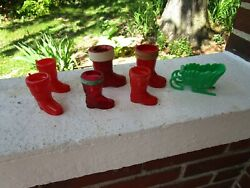 Vintage Lot Of Plastic Candy Containers Santa Boot Rosbro Paper Mache Sleigh