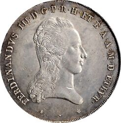 Italian States Tuscany Florence 1824 Francescone Silver Coin Pcgs Certified Au58