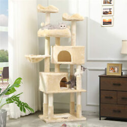 Multi Level Cat Tree for Large Cats Cat Tower Furniture with 2 Condos 3 Platform