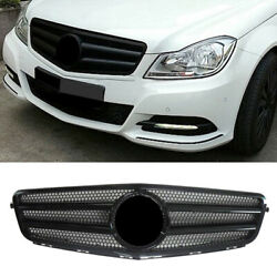 2-pin Front Grill Gloss Black Fit Mercedes Benz C Class W204 2007-14 Replace Car