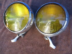1930's-1940's Pair Of 6 Inch Guide Script Bulb Reflector Fog Lights