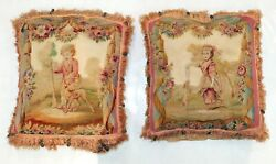 Pair Of Antique French Aubusson Tapestry 18th Century Pillows