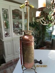 Vintage Copper And Brass Badger's Fire Extinguisher Lamp Light Conversion Rewired
