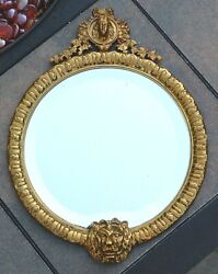 Rare And Co. Bronze Beveled Mirror With Face And Lion Head