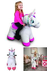 6 Volt Stable Buddies Willow Unicorn Plush Ride-on With Light Up Horn And Play