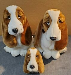 Family of Basset Hounds Plush Hush Puppies on Paw Wolverine World SO CUTE