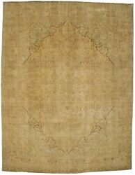Antique Distressed Muted 10x13 Traditional Floral Oriental Rug Wool Decor Carpet