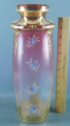Victorian Moser Bohemian Cranberry Glass Hand Painted Enameled Flowers Gilded