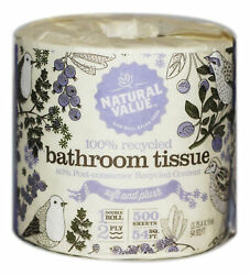 Natural Value 100 Recycled Bathroom Tissue 500 2-ply Sheets Per Roll Pack ...