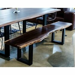 Modern Live Edge Wood And Acacia Wood Dining Bench With Black Metal U Shaped ...