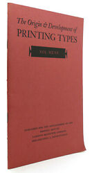 Sol Hess The Origin And Development Of Printing Types 1st Edition 1st Printing