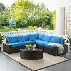 6pcs Outdoor Patio Furniture Wicker Sectional Sofa Set W/ Cushions And Glass Table