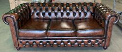 The Chesterfield Brand B00rp010qe Brighton 3 Seat Antique Brown Leather Couch
