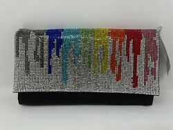 I.N.C. Women#x27;s Evening Party Rainbow amp; Hether Shiny Mesh Silver Clutches $79.00