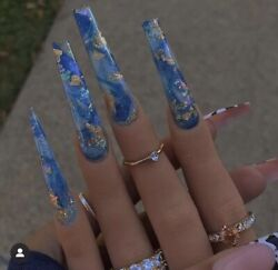 Blue Marble W/ Gold Design Long Coffin Press On Nails